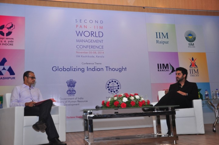 2. Mr. Abhishek Bachchan being interviewd by Prof. Rahul Sett, in the Pan-IIM World Management Conference at IIM Kozhikode