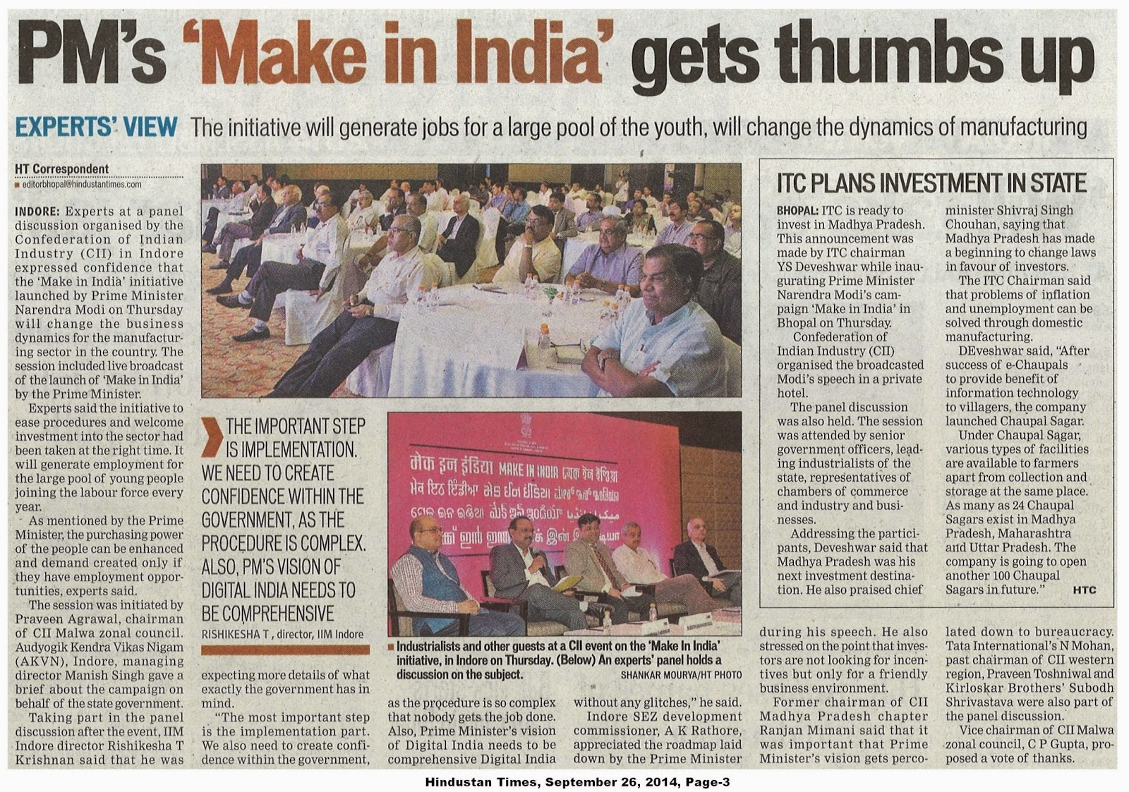 Hindustan Times, September 26, 2014, Page-3 (1)