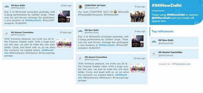 IMI New Delhi Social Media Wall Engagement